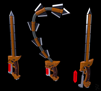 Scarlet Fury (RWBY OC weapon) by JackBryanReynard