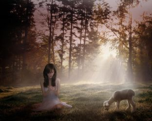 The girl and the lamb by Dennisolsen2006