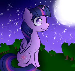 Looking at the moon REDRAW by Twilight-Sparkle-EQ