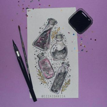 INKTOBER 2017 - Day 3: Potions by amortentia15