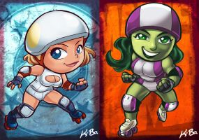 DC VS Marvel Roller Derby: Power Girl/She-Hulk by kevinbolk