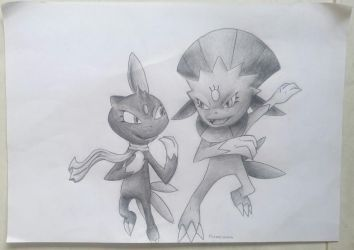 Sneasel and Weavile by Vongxm