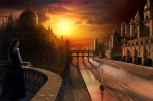 Matte painting: alternate city by Drombyb