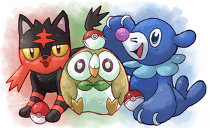 Litten Rowlet Popplio by IzaPug