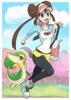 Pokemon trainer Rosa with Snivy by Gameguran