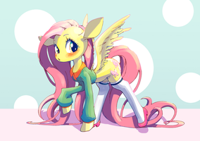 Fluttershy in Clothes by conbudou
