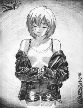 Rei Ayanami (in leather!) sketch, circa 1996 by AdamWarren
