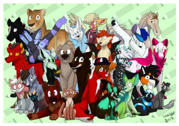 Art Fight #27 - MASS ATTACK ArtFarts Family Photo by TheLavaWolf