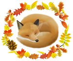 Sleepy Autumn Fox - t-shirt design by RaguTheNinja