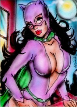 Classic Catwoman Sketch Card by BiancaThompson