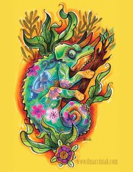 Tattooed Chameleon by dmillustration