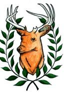 Laurel Crowned Deer Marker Illustration by ChelseaFerranti