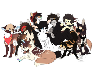 Commission for TesseractK9 (Multiple Characters) by RhinestoneArts
