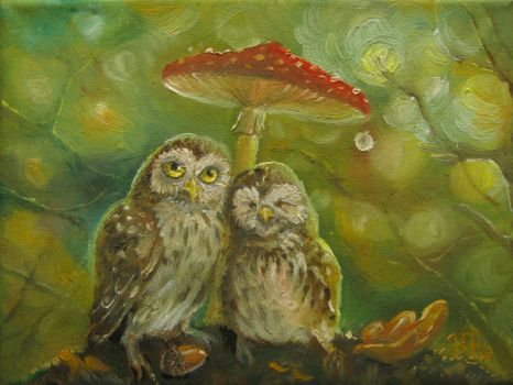 Cute Owl Couple under the Mushroom by Redilion