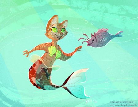 Purrmaid and friend by kiki-doodle