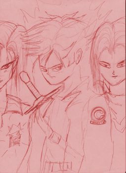 trunks vs androids sepia format by leucasaurio