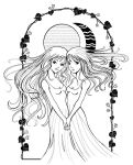 Sister sun and Moon lineart by Sugarthemis