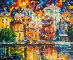 Red House By The Shore by Leonid Afremov by Leonidafremov