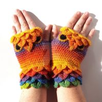 Tropical Sunset Owl Gloves by FearlessFibreArts