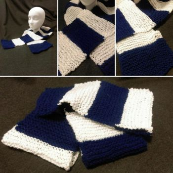 White and Blue Striped Scarf by KCKnits