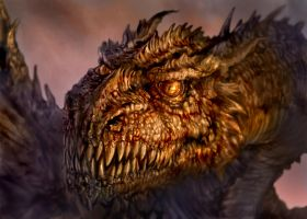 Dragon warm-up painting. by chrisscalf