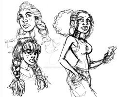 BOMBSHELLS INC.- Braids and baggy pants sketch by ShawnAtkinson