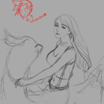 Just Tifa riding a chocobo... lineart W.I.P  0v0 by Narual