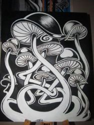 MonoChrome Mushrooms by buzzyPsychedelicness