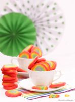 Rainbow Sugar Cookies with Strawberry Flavoring by theresahelmer