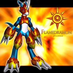 Flamedramon 3d by me by EAA123
