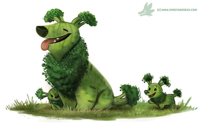 Daily Paint #1234. Broccollie by Cryptid-Creations