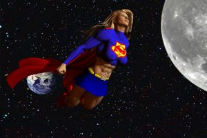 Supergirl in space by plinius