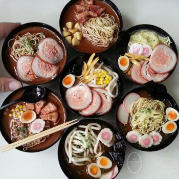1:3 scale miniature Japanese noodles by Snowfern