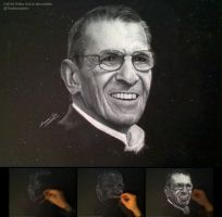 Leonard Nimoy in white charcoal on black paper by theportraitart