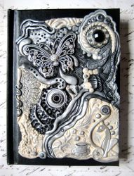 Classy Cats and Coffee Polymer Clay Art Journal by RoyalKitness