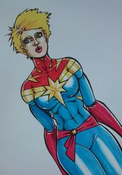 Captain Marvel Copic Sketch by theEvilTwin