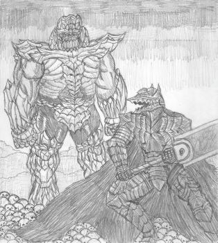 Berserk Guts vs Poison Thanos by DWestmoore