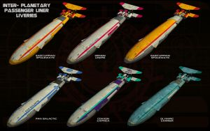 Inter-planetary passenger liner liveries by unusualsuspex