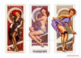 Gil Elvgren Tribute Art Nouveau Sexy Pin up III by jdesigns79