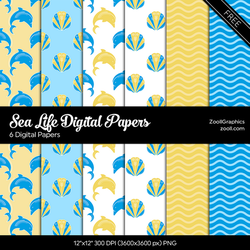 Sea Life Digital Papers by MysticEmma
