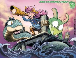 Alicia and Chewster and Sea Serpent Low Rez by SalamanderArt
