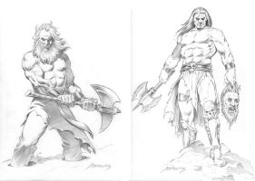 Drawings 02-Axemen by PaulAbrams