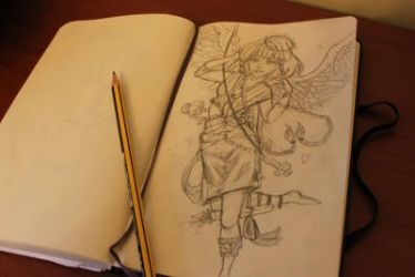 A very late sketch of cupid by robyntaylor