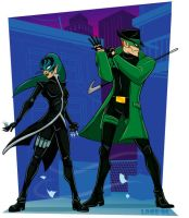 Green Hornet and Kato by lordmesa