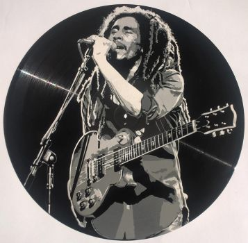 Bob Marley painted on vinyl record by vantidus