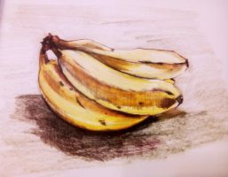 Bananas Colored Drawing by lilibloom24601