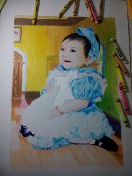 COMMISSION: Baby Alice (Crayon art)