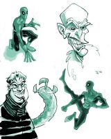 spidey,vulture,doc oc sketch by HEROBOY