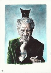 Morgan Freeman. Experiment phase ii: color by Nnusia