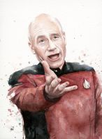Annoyed Picard Meme, Watercolor by Olechka01